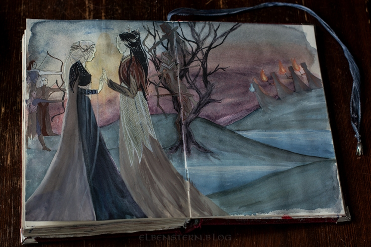 Illustration in Elrian's diary depicting the legend and the ceremony